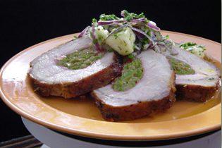 Lomo de cerdo relleno de espinacas