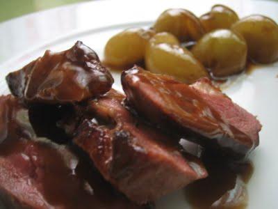 Magret de pato en salsa de Cava
